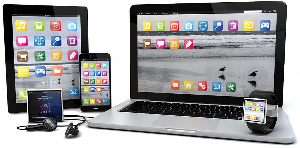 Multiple devices including: tablet, mobile phone, laptop, smart watch and mp3 player